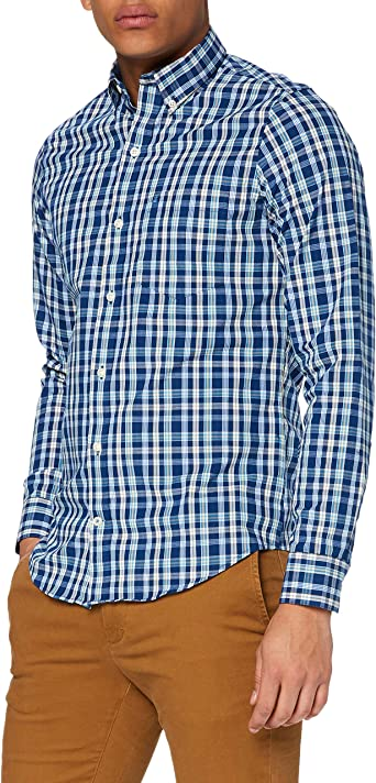 Izod Poplin Plaid BD Shirt Camisa Casual para Hombre