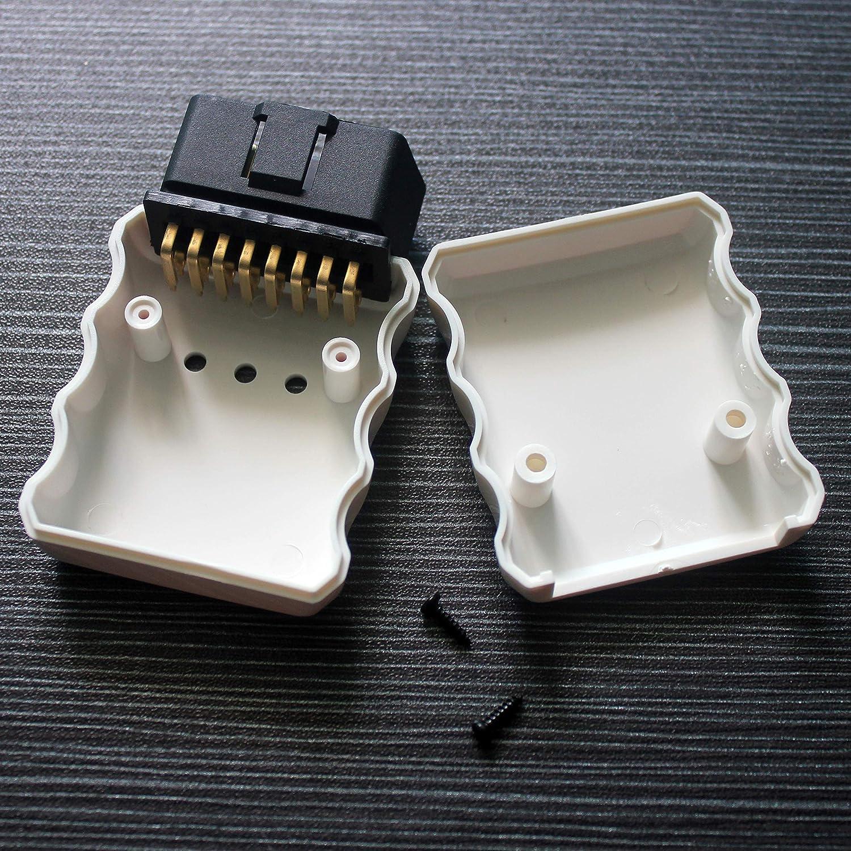 OBD2/16/broches Adaptateur J1962/Fiche de connecteur avec bo/îtier Blanc Loonggate OBD II connecteur m/âle avec bo/îtier Syst/ème de diagnostic