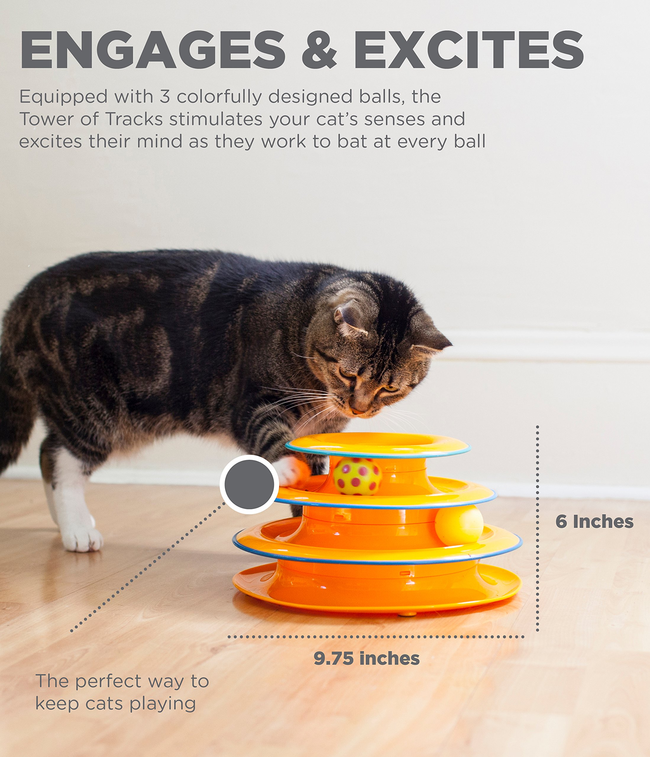 Kitten Toys Petstages Tower of Tracks Cat Toy – 3 Levels of Interactive Play – Circle Track with Mov [tag]