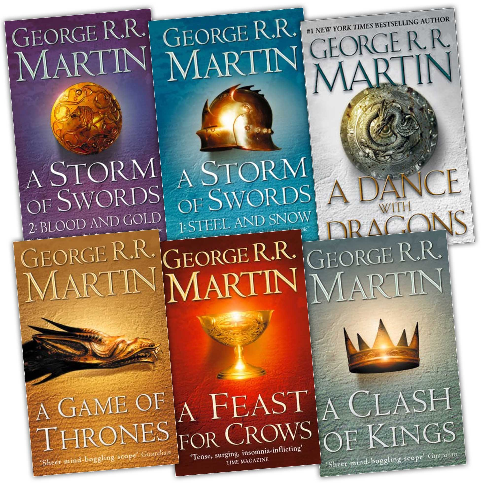 George R. R. Martin A Song of Ice and Fire 6 Books Collection Pack Set RRP: £69.95 A Feast for Crows, A Storm of Swords: Blood and Gold: , A Storm of