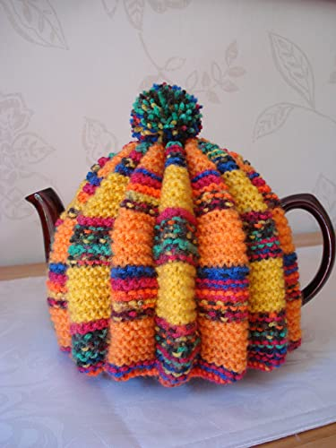 Vintage Retro Tea Cosy Cozy In Orange And Yellow Stripes To Fit