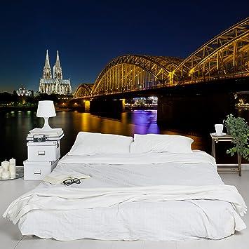 Apalis Vliestapete Köln bei Nacht Fototapete Breit | Vlies Tapete  Wandtapete Wandbild Foto 3D Fototapete für Schlafzimmer Wohnzimmer Küche |  ...