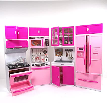 Envo Toys Large XXL Doll Play Kitchen For Toddlers Toy Kitchen Features  Lights And Sounds Perfect Pretend Play Kitchen For Kids