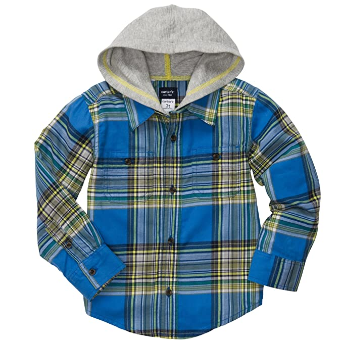 64b9f6c72 Image Unavailable. Image not available for. Color: Carter's Boys Button-front  Flannel Hooded Shirt ...