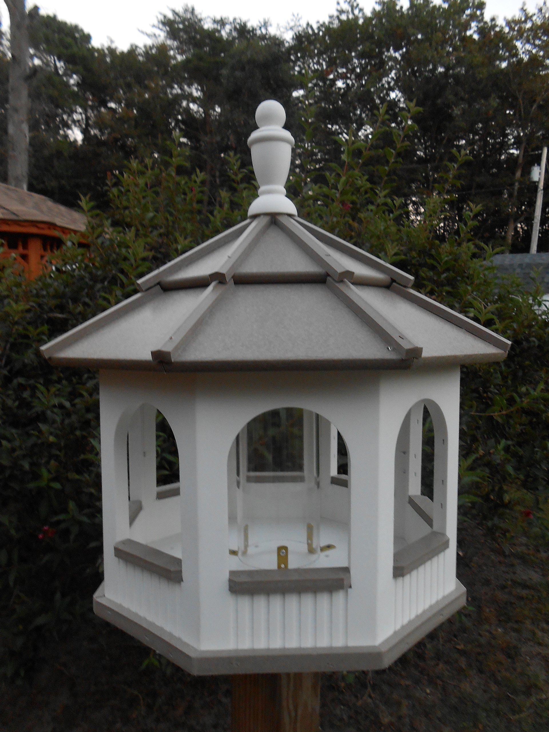 Large Gazebo Vinyl Bird Feeder Amish Homemade Handmade Handcrafted White & Clay by Amish Crafted