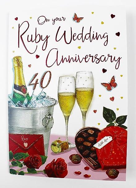 Ruby aniversario de boda Tarjeta de felicitación Pareja 40 años ...