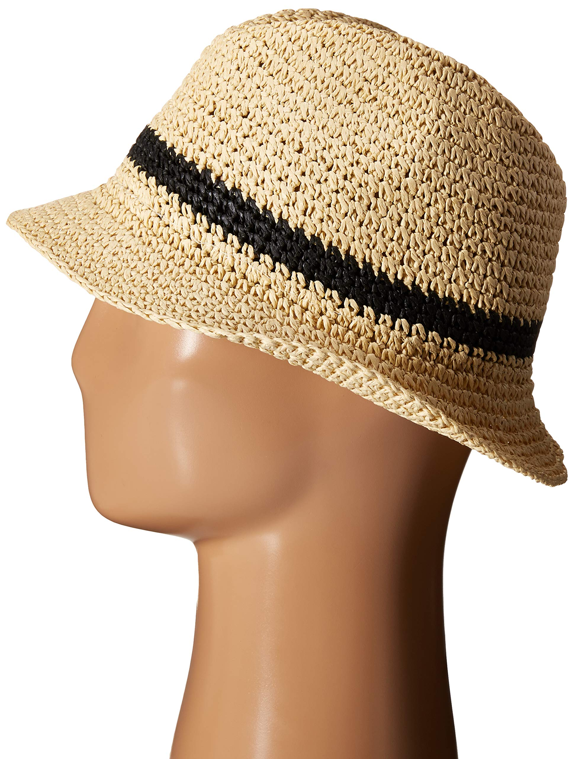 Kate Spade New York Women's Crochet Packable Fedora Natural/Black One Size by Kate Spade New York (Image #2)