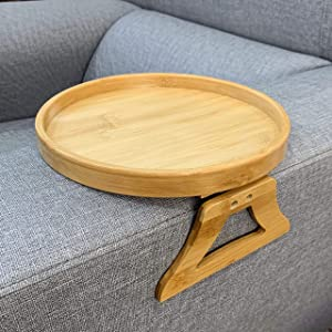 Xchouxer Side Tables Natural Bamboo Sofa Armrest Clip-On Tray, Ideal for Remote/Drinks/Phone (Round)