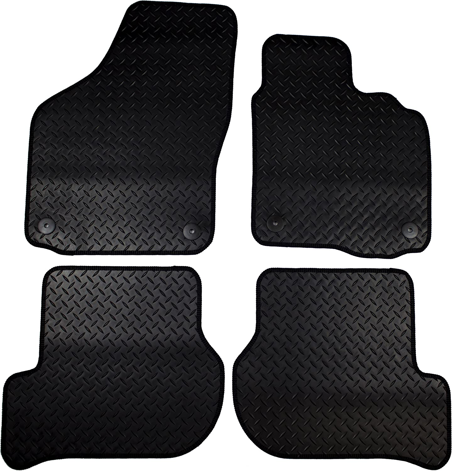 Cosmos V2666STBL17HP Standard Black Tailored Floor Mat with Green Binding with Heelpad