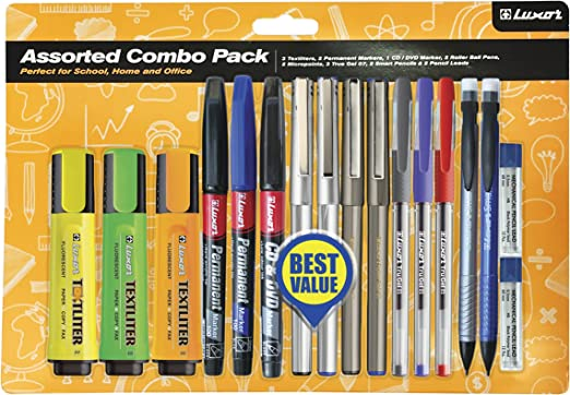 Luxor 1350A - Kit de 3 marcadores, 3 permanentes, 4 punta fina, 3 bolígrafos, 2 portaminas y 2 cajas mina, multicolor: Amazon.es: Oficina y papelería