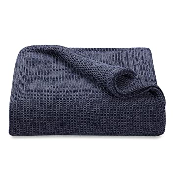Homvare Luxurious fine Cotton Waffle Blanket- All Season Breathable for Bed, Sofa, Couch & Sectional Perfect for Layering, Relaxing, Snuggling and ...