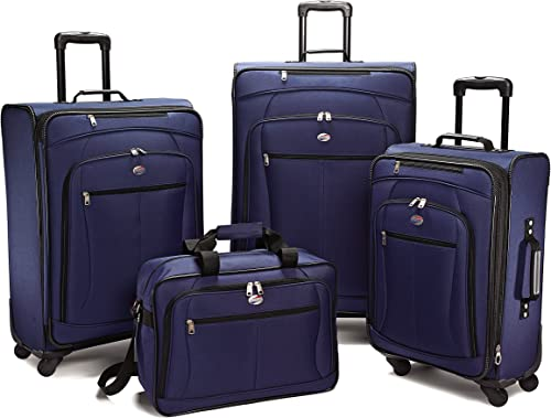American Tourister Luggage Pop Extra Spinner – 4 Piece Set 4PC Set, Navy