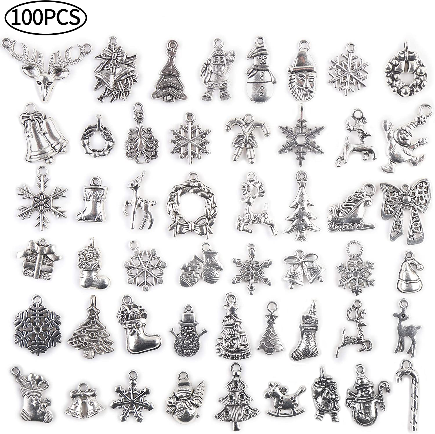 CCINEE 100 PCS Christmas Antique Tibetan Silver Charms, Wholesale Mixed Metal Bulk Pendants DIY Charms for Necklace Bracelet Making