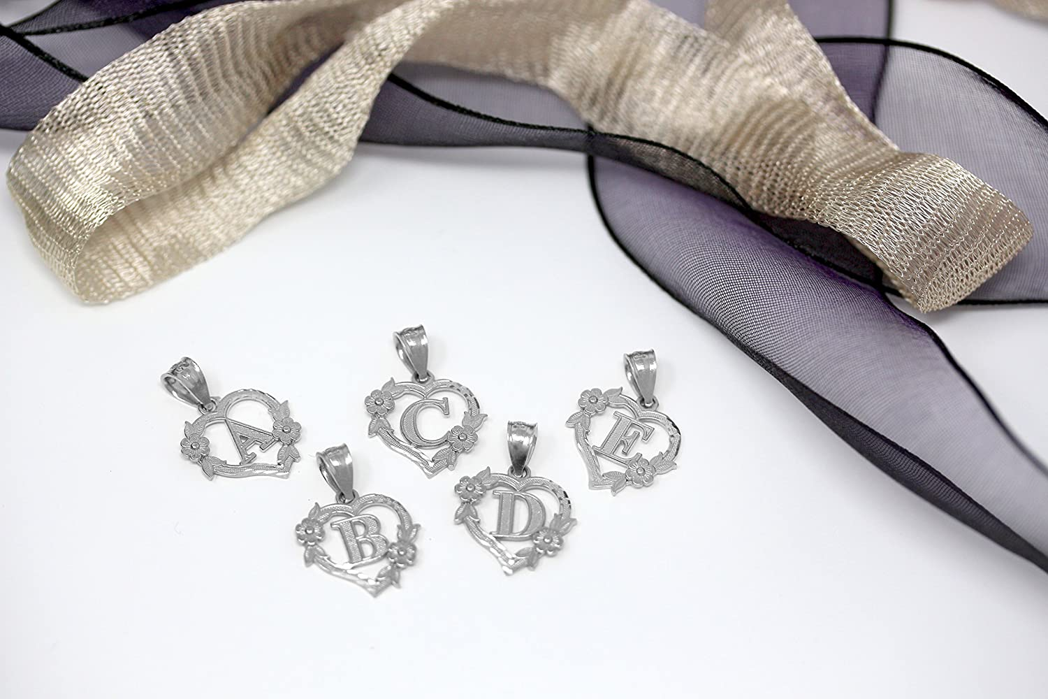 CaliRoseJewelry Sterling Silver Initial Heart Pendant and Ring Set Letter H