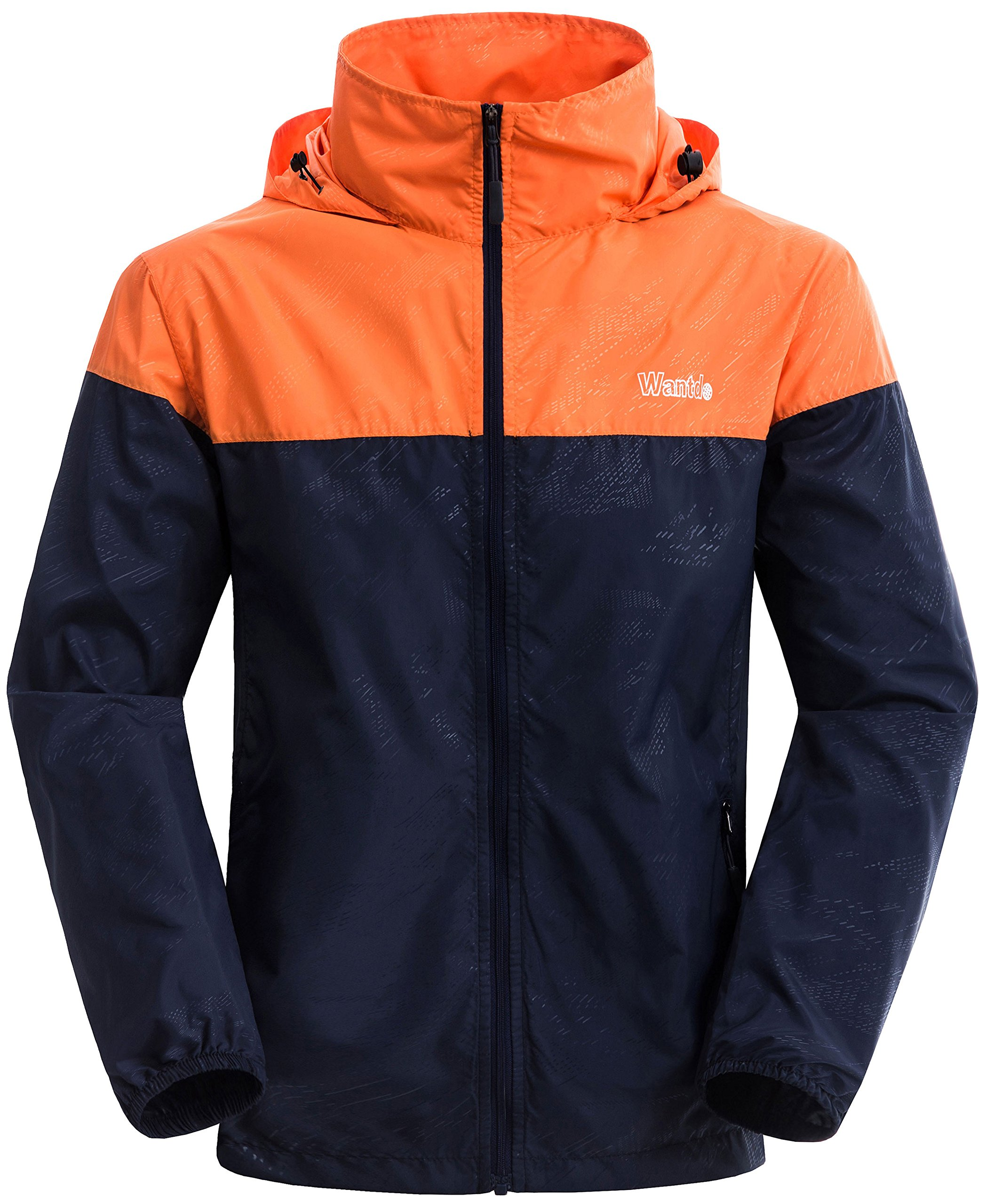 Wantdo Men's Lightweight Windbreaker Fall Packable Sport Outdoor Hooded Jacket Orange Navy US Medium by Wantdo
