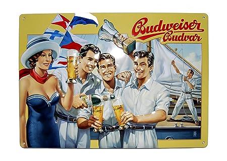 Cartel de chapa 21 x 29,5 cm - Diseño Budweiser metal Cartel ...