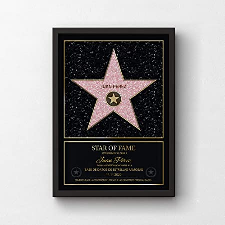 Certificado Star of Fame con Nombre y Marco de Madera Personalizado con Nombre A3-30 x 42 cm GOODS+GADGETS Estilo Personal de la Estrella de Hollywood Walk of Fame