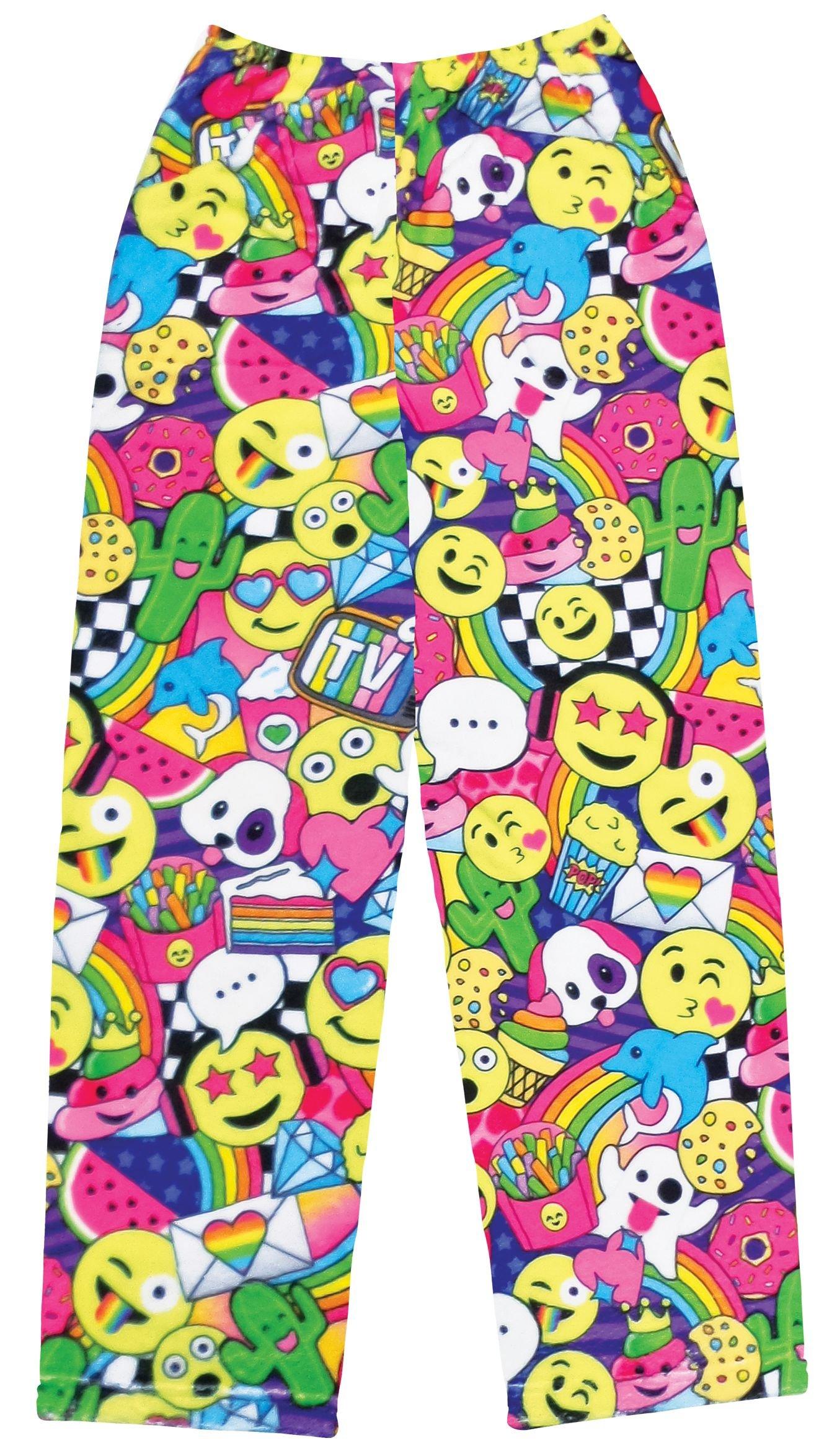 iscream Big Girls Fun Print Silky Soft Plush Pants - Emoji Party, X-Small