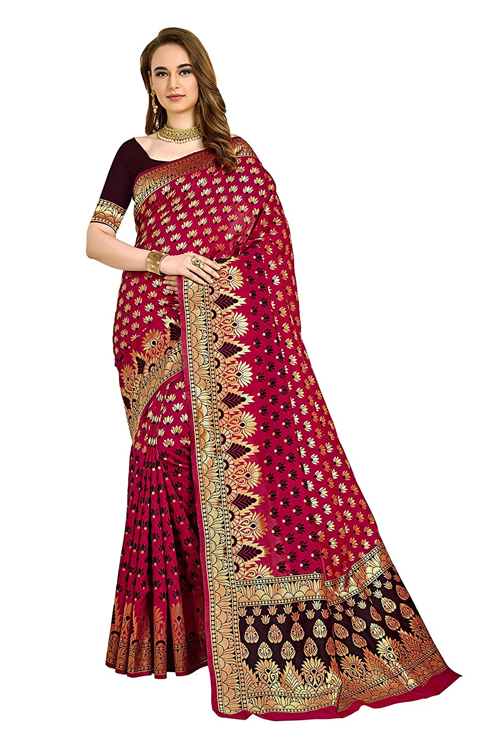Kanchipuram Silk Blend Saree With Unstitched Blouse Collection