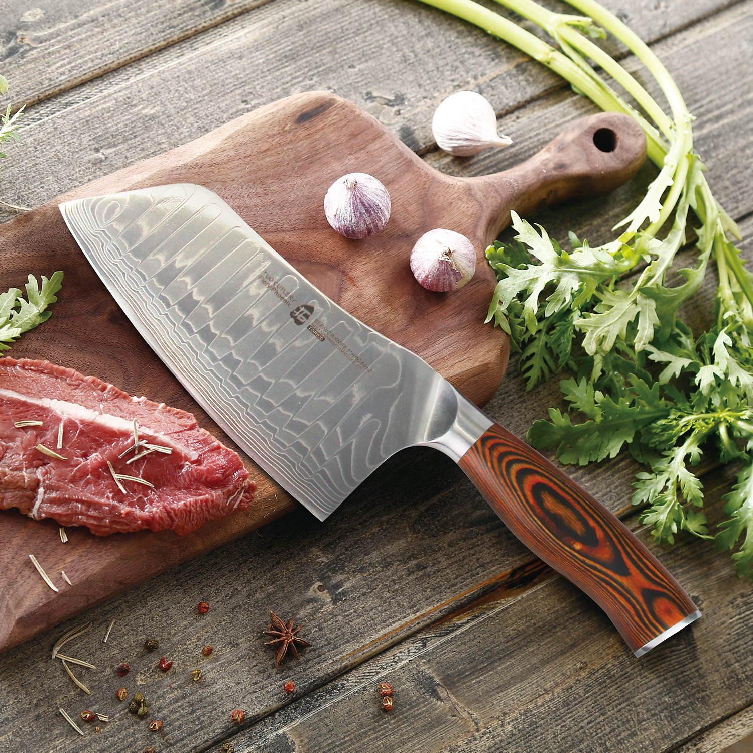 TUO Cutlery Cleaver Knife - Japanese AUS-10 Damascus Steel - Chinese Chef's Knife for meat and vegetable with Ergonomic Pakkawood Handle - 7'' - Fiery Phoenix Series by TUO Cutlery (Image #4)