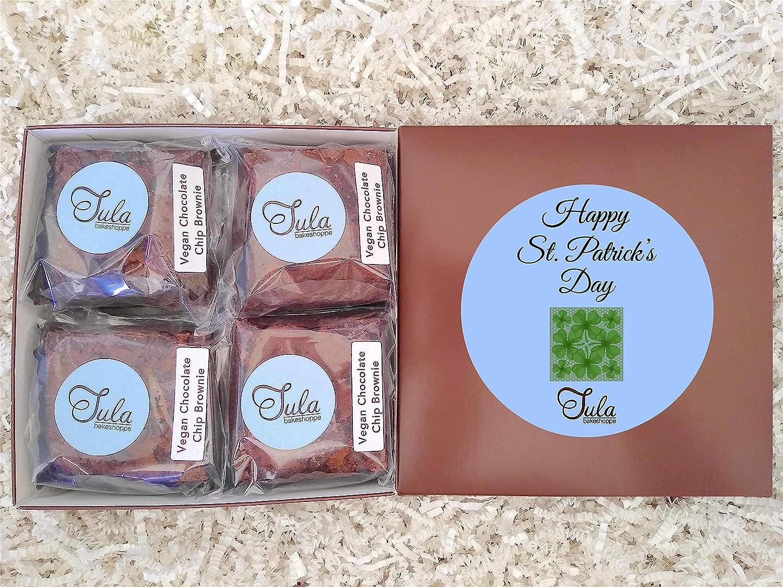 Tula Bakeshoppe Vegan Saint Patricks Day Ireland Shamrock Non-Dairy Chocolate Chip Brownies Gourmet Food Gift Basket for Employer / Associate / Secretary / Nurse (16 Bars)