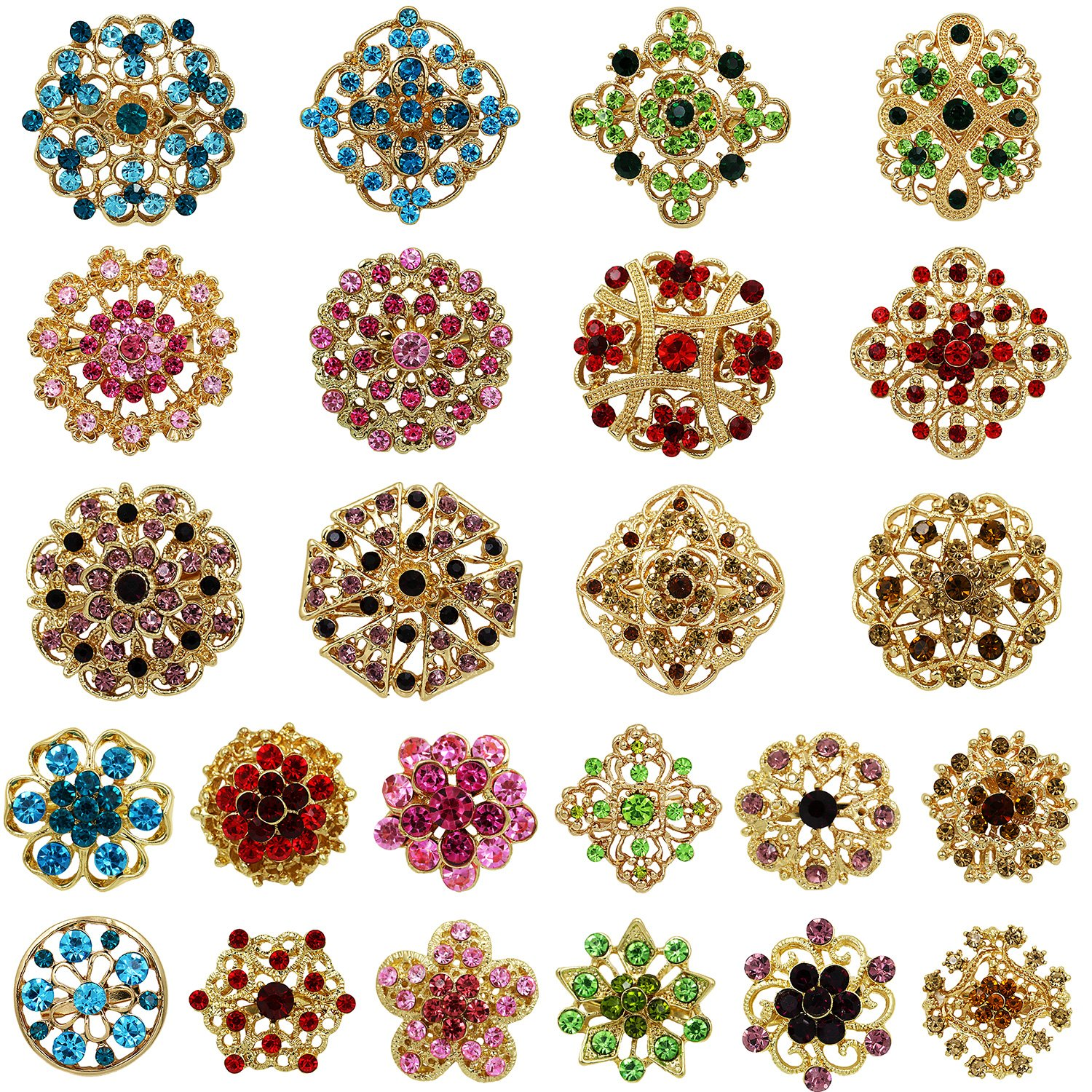 Mutian Fashion Lot 24pc Mixed Color Rhinestone Crystal Flower Brooches Pins B24MV