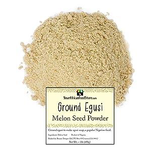 Nigerian Egusi Seeds, Ground Egusi Powder for Egusi Soup, Nigerian Seasoning, African Food (1kg / 2 pound)