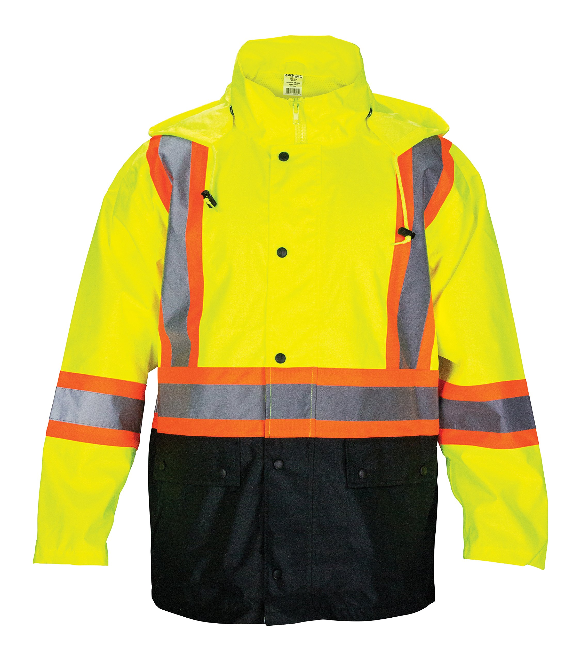 SAS Safety 690-1520 Hi-Viz Class-2 Rain Jacket with Contrast Trim, X-Large, Yellow