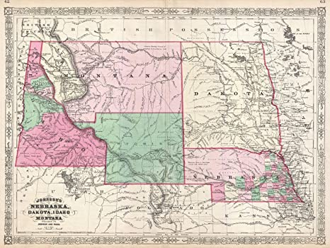 Amazon Com Historic Map Johnson Map Of Montana Wyoming