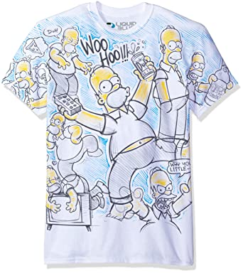 b957077a Liquid Blue Men's Simpsons Homer Time All Over Print Short Sleeve T-Shirt,  White