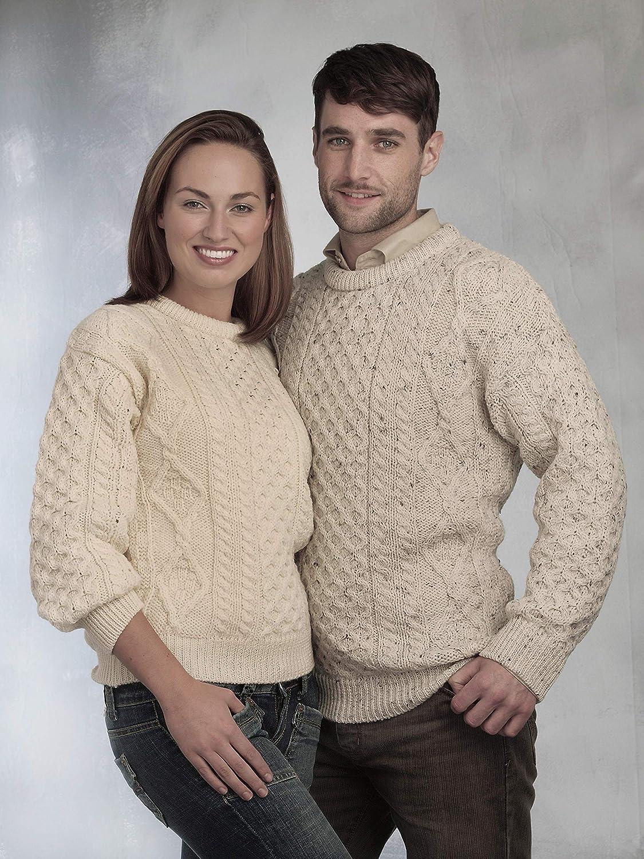 100% Pure New Wool Irish Springweight Aran Sweater