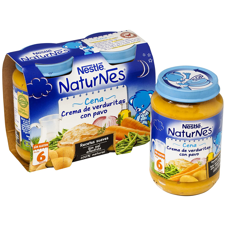 NESTLÉ Purés Pijama, tarrito de puré de verduras y carne, variedad Crema de verduritas con Pavo, para bebés a partir de 6 meses - Paquete de 6 x 2 tarritos ...