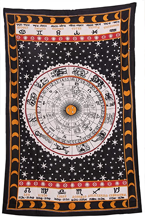 Tapestry Indian Mandala Twin Black White Cotton Bedspread Hanging Hippie Decor