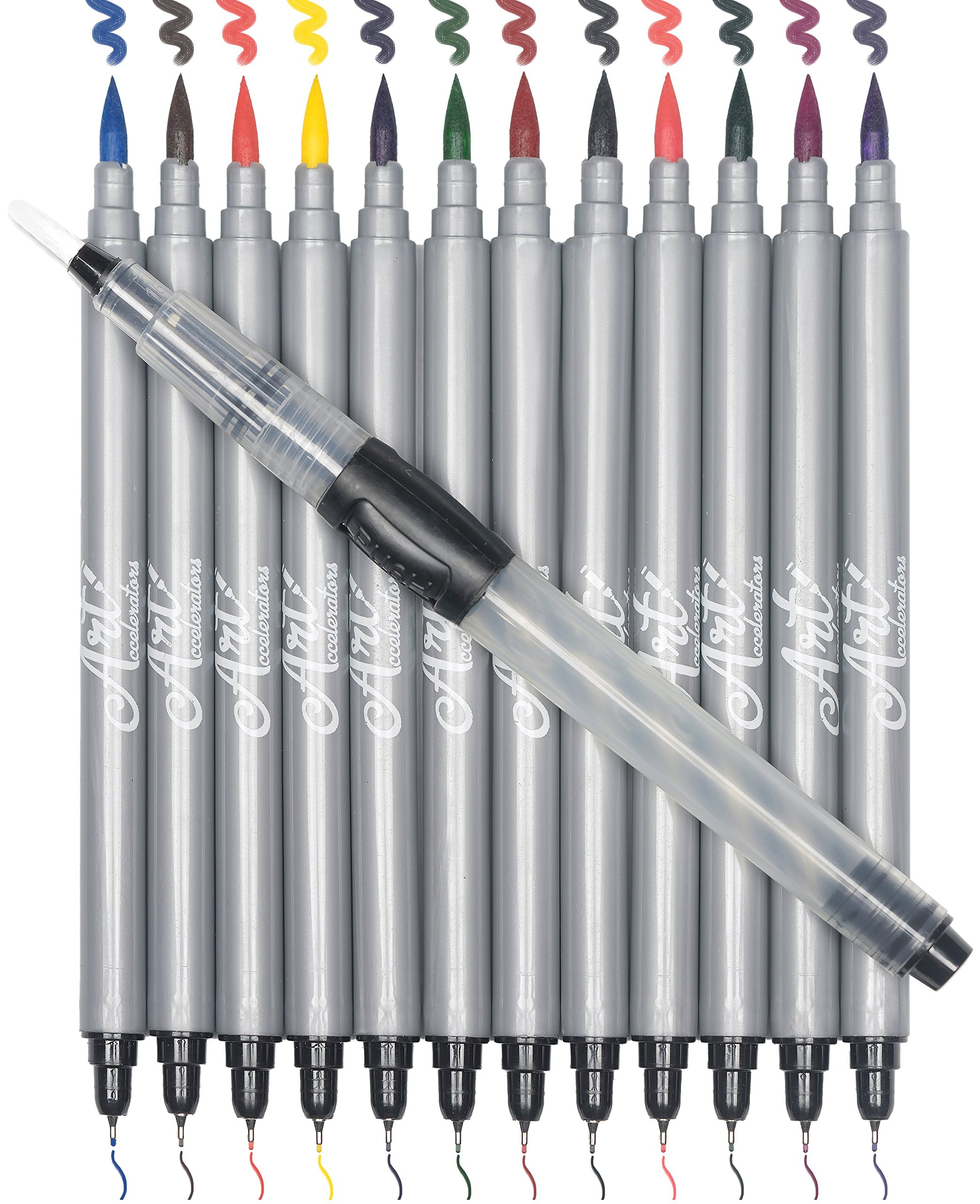 Watercolor Brush Markers - Dual Tips for Blending and Fine Details | Colorful Double-Sided Pens for Watercolor and Lettering Art | 12 Colors + 1 Water Brush | Non-Toxic and Safe for Kids and Adults