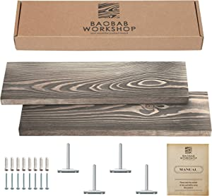 "Reclaimed Wood Floating Shelves Set of 2 - Distressed Floating Shelf 24 inch - Rustic Wood Floating Shelves - Wall Shelves For Living Room Bedroom Kitchen Bathroom and more - Grey Color - 24"" x 6.7"""