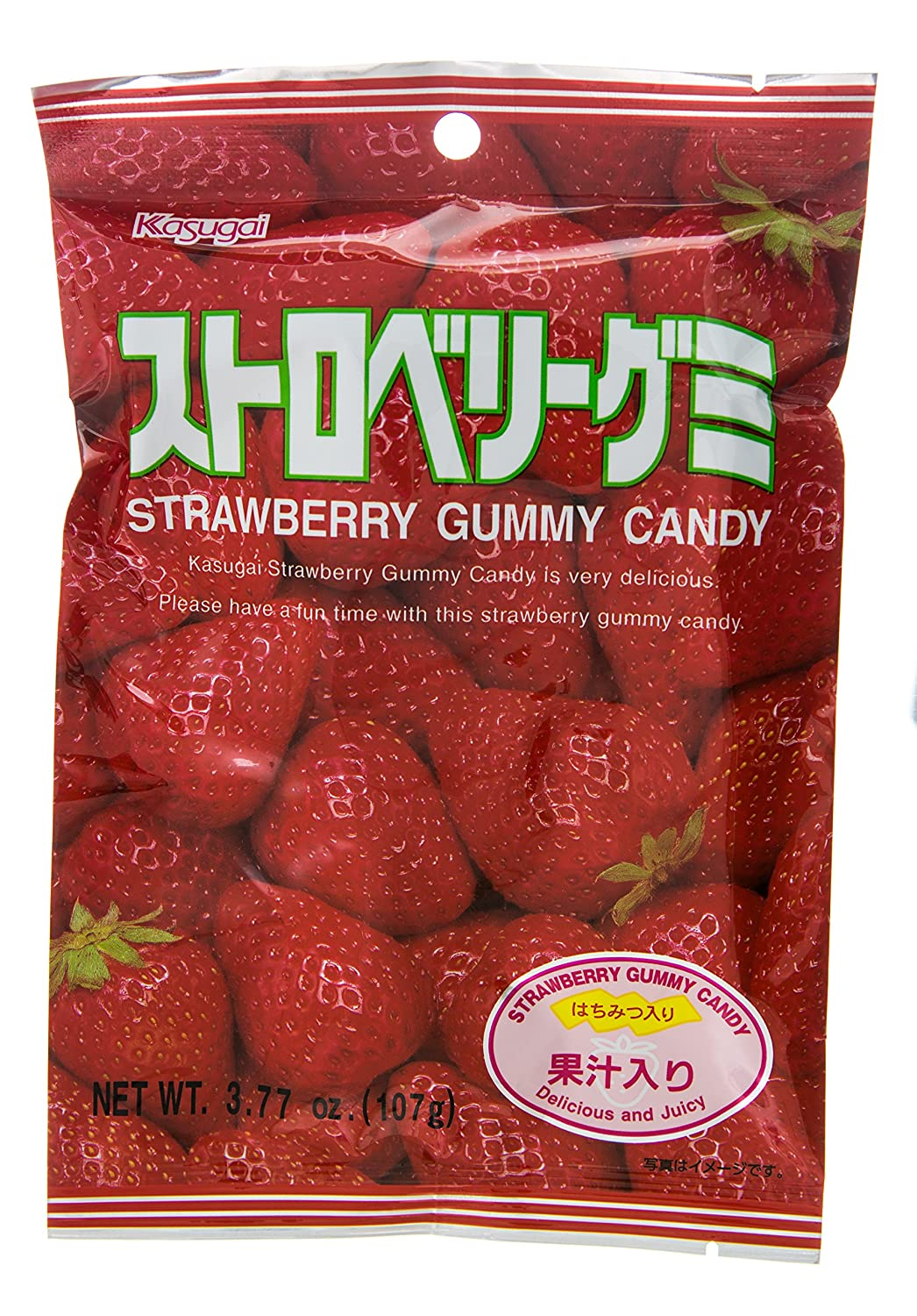 Kasugai Gummy Candy, Strawberry, 3.77-Ounce Packages (Pack of 12)