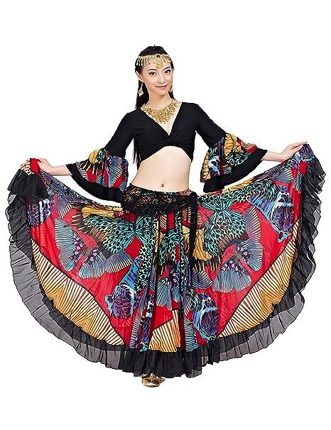 Astage Mujer Dan Vientre Boho Maxi Falda Capas Tribal Turca Gitana 23m Falda Camiseta+ Falda Roja