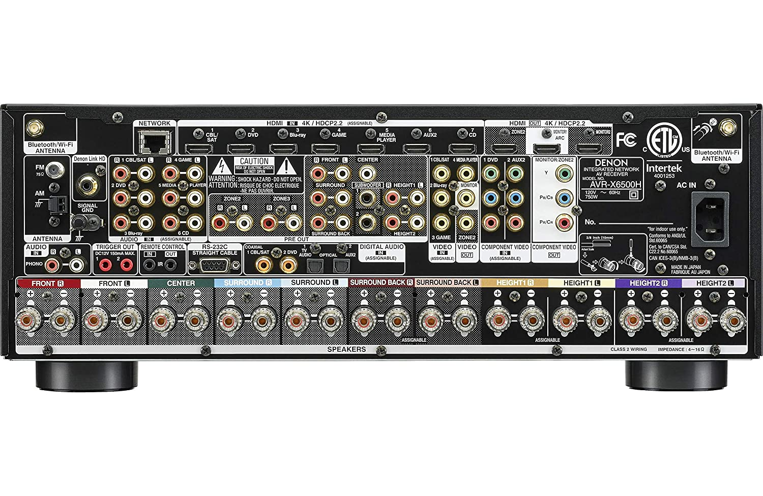 Denon AVR-X6500H Receiver - 8 HDMI In /3 Out, High Power 11 2 Channel (140  W/Ch) Amplifier Home Theater | Dolby Surround Sound, Music Streaming with