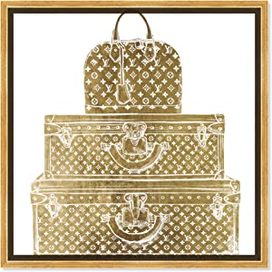 The Oliver Gal Artist Co. Fashion and Glam Framed Wall Art Canvas Prints 'Royal Bag and Luggage Diecut' Travel Essentials Home Décor, 24