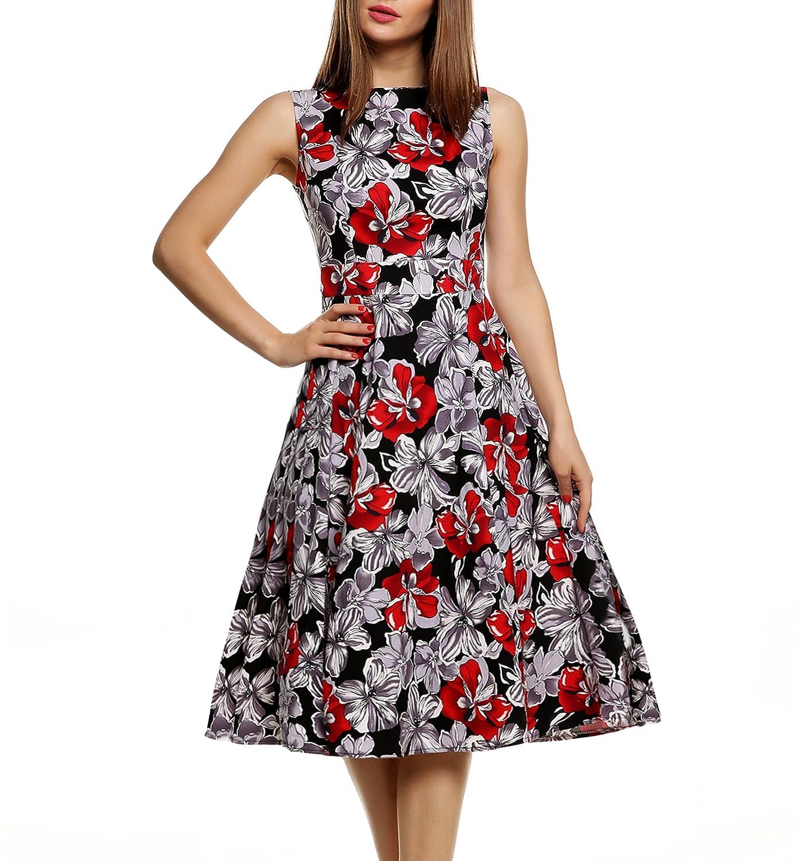 CRAVOG Damen Retro Rockabilly Kleider Blumen Partykleid Cocktailkleid Abendkleid