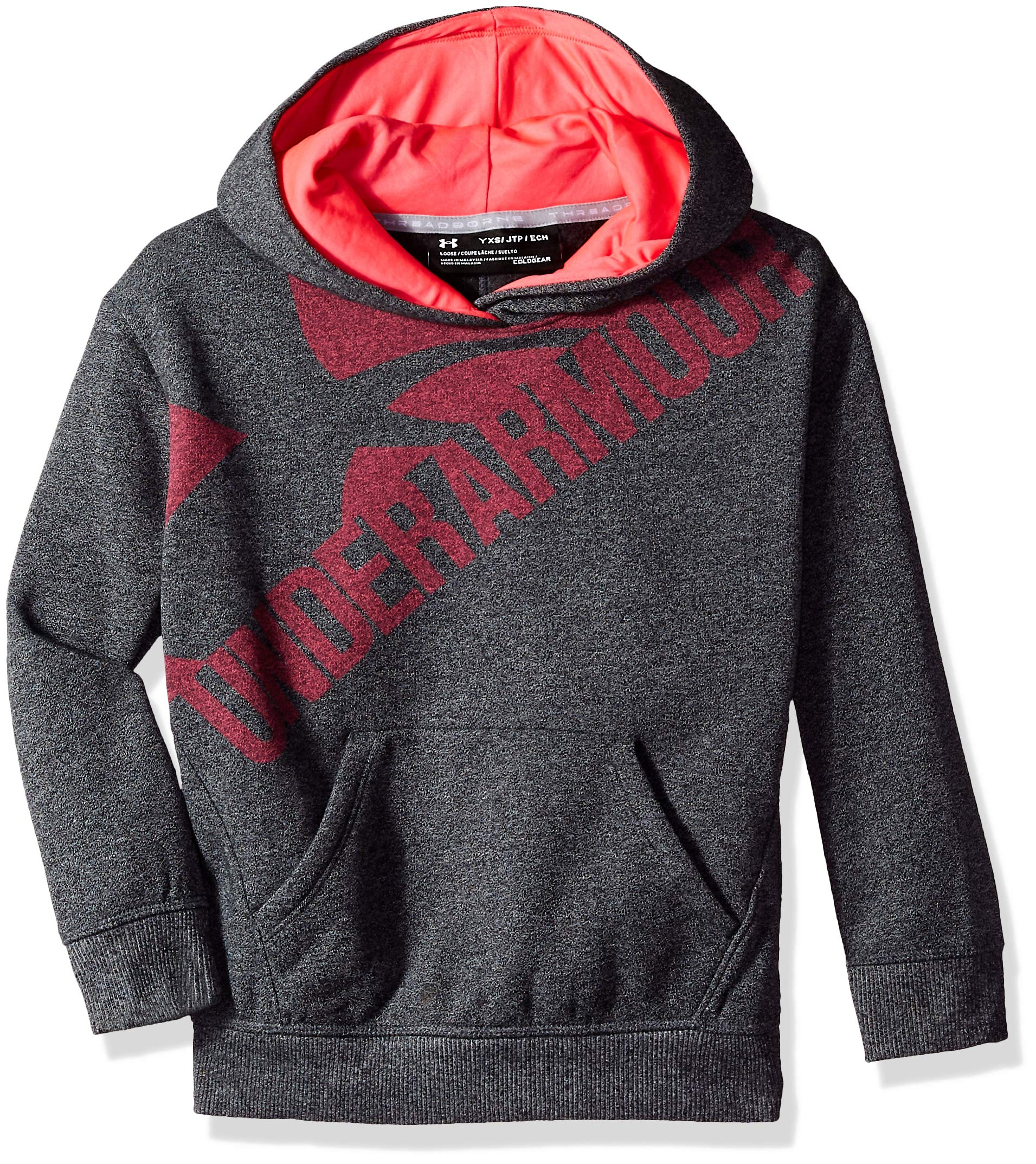 Under Armour Girls' Threadborne Novelty Fleece Hoodie,Black /Penta Pink, Youth Small
