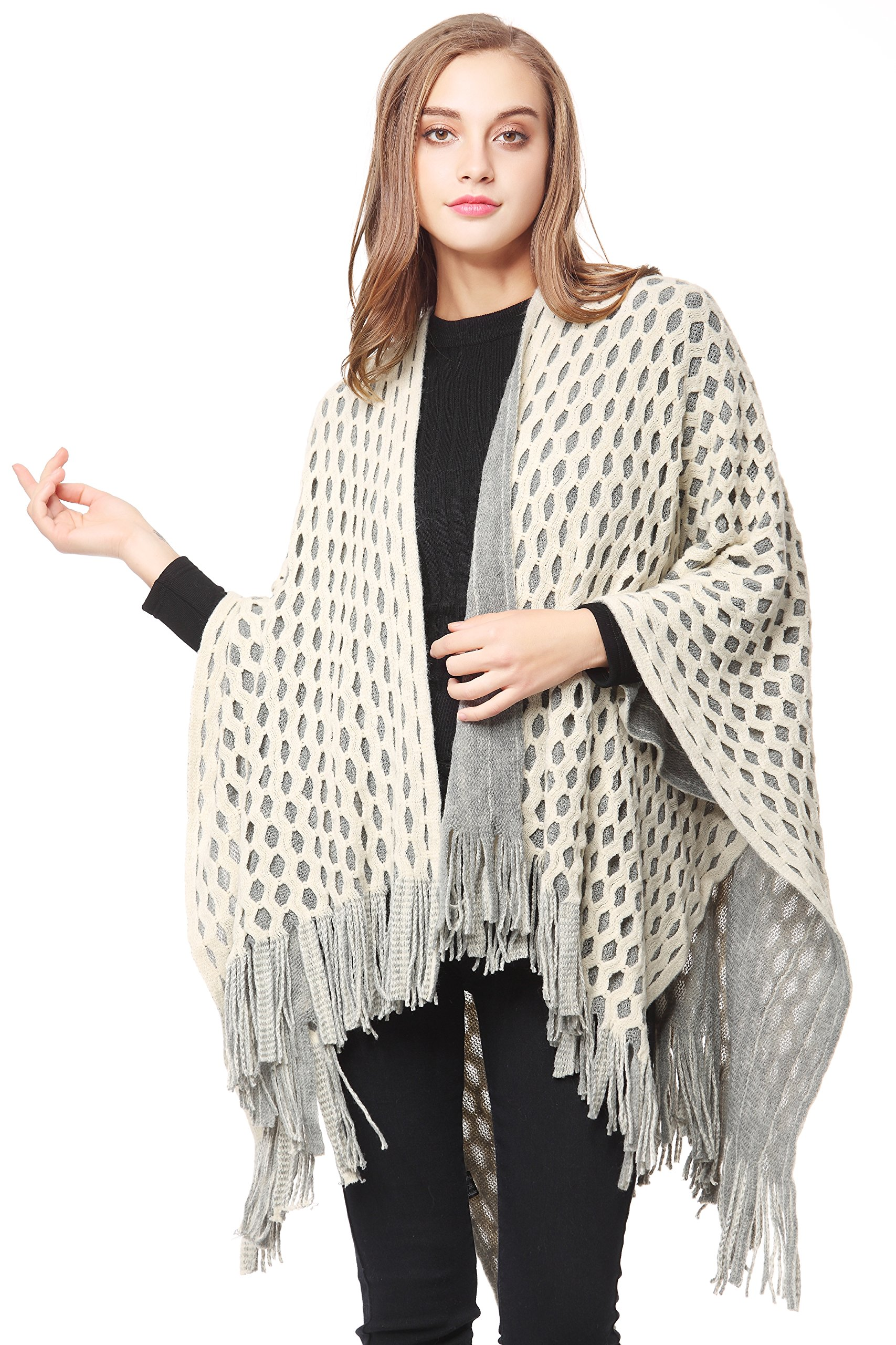 ZLYC Women's Checked Knitted Winter Netted Fringe Poncho Shawl Travel Wrap Cape (Creamy White)