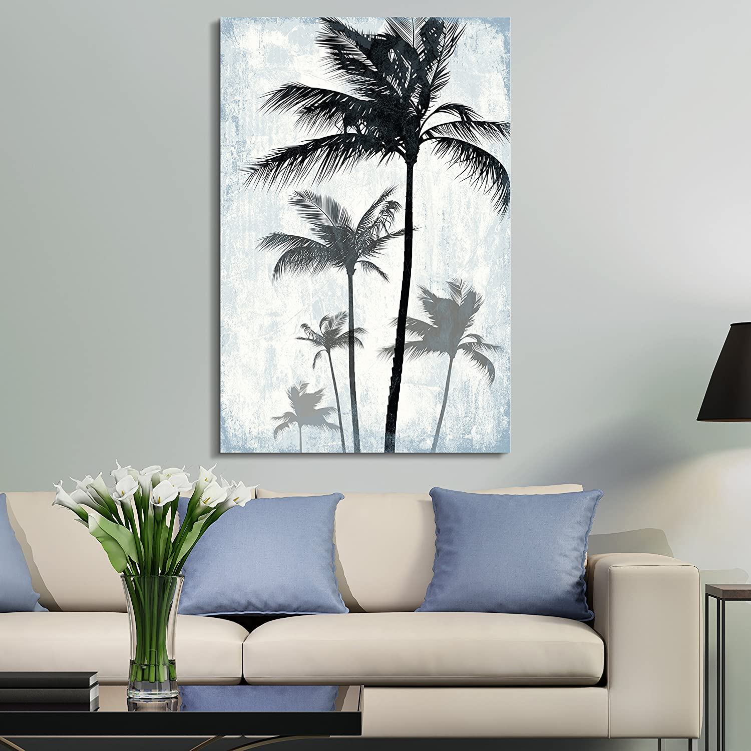 Charming Portrait, Classic Artwork, Tropical Palm Trees on Rustic Background