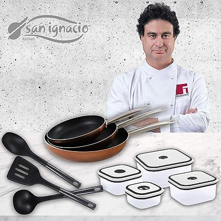San Ignacio Professional chef copper recipientes herméticos Cocina, Set 3 sartenes + 4 fiambreras + 3 utensilios: Amazon.es: Hogar