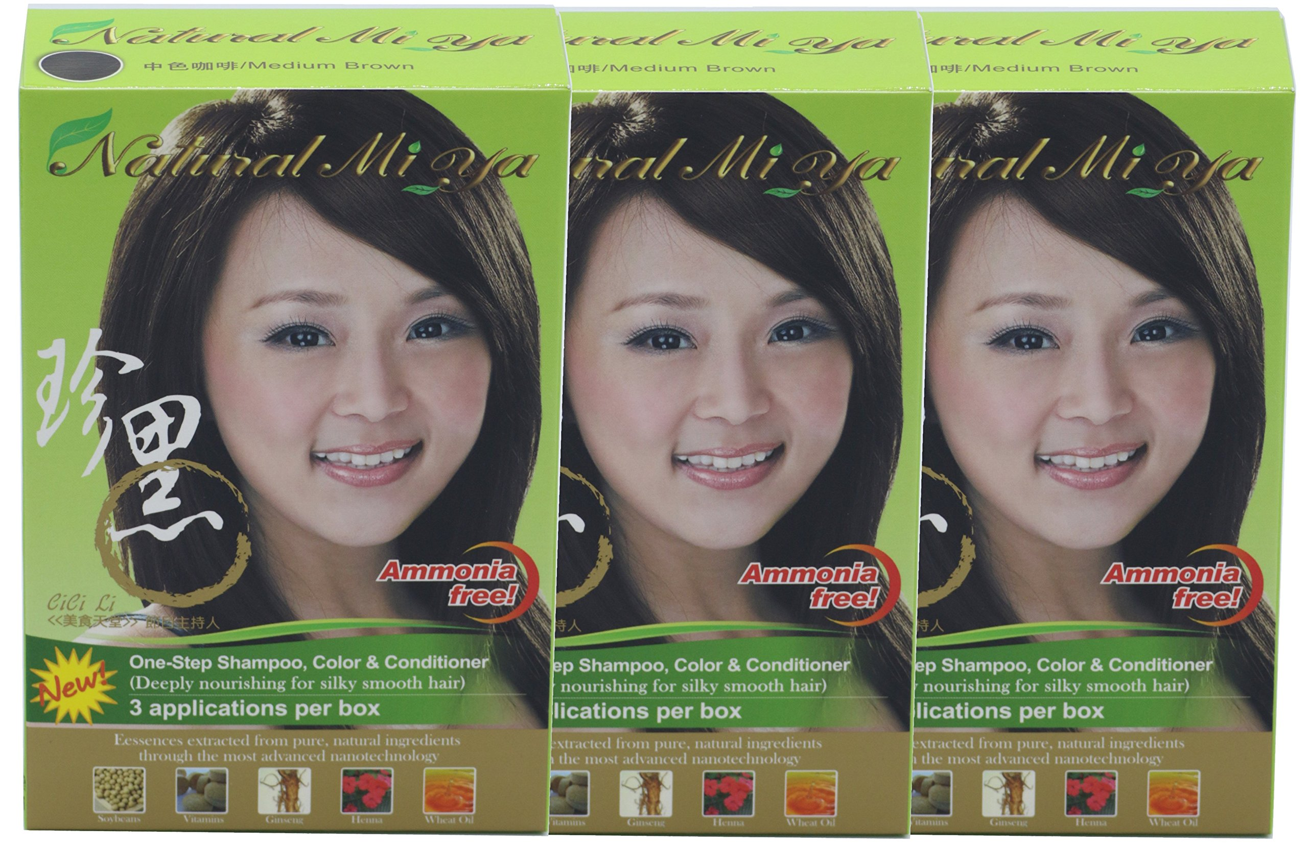 Natural Mi Ya Hair Color, Herbal Hair Dye & Hair Nutritions by Extracted Ginseng,Henna Hair Color Colorants, Permanent, Medium Brown (3 Pack)