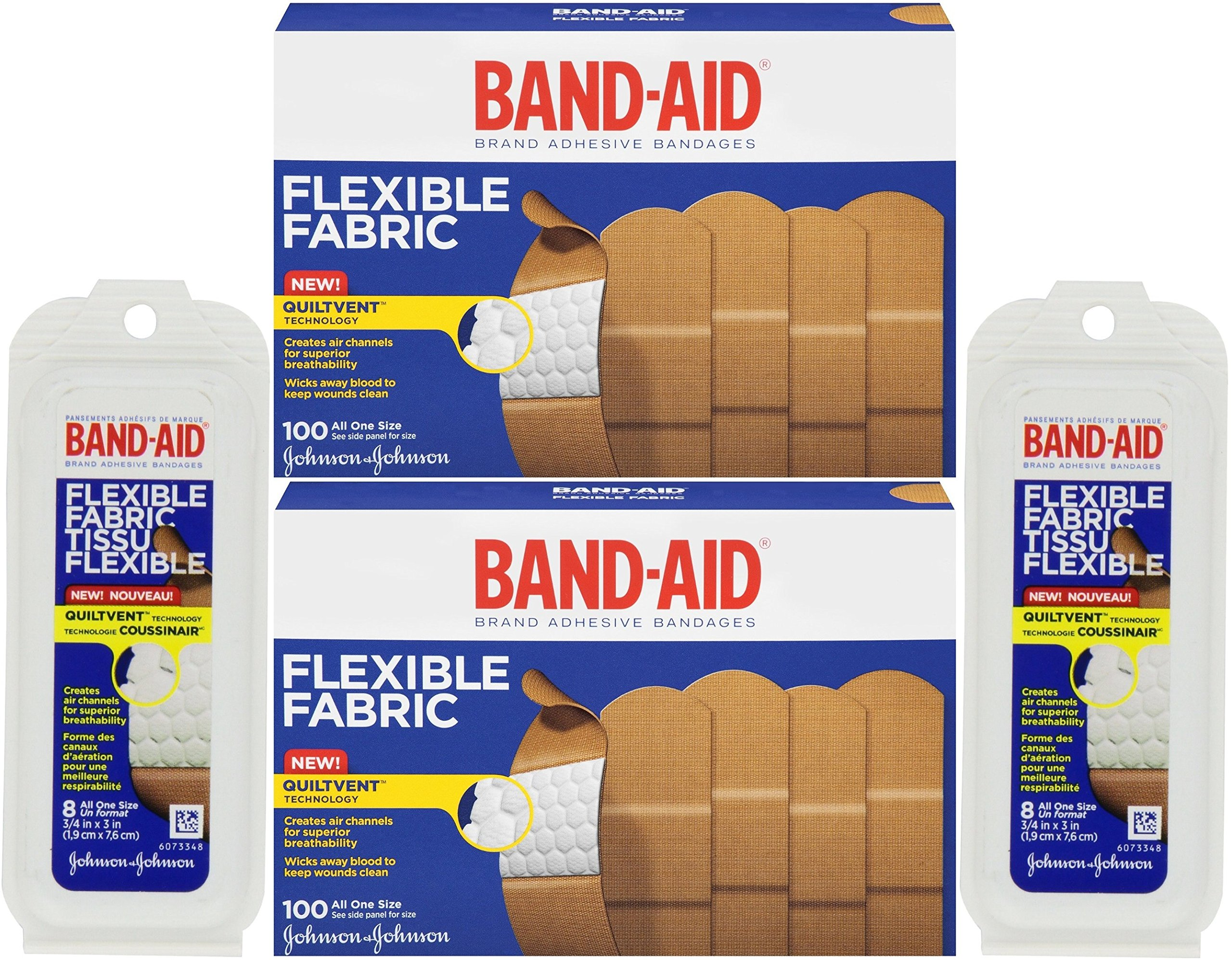 Band-Aid Adhesive Bandages, Flexible Fabric, All One Size 1'' X 3'' [With Bonus Travel Size 8 Ounce] (Pack of 2)
