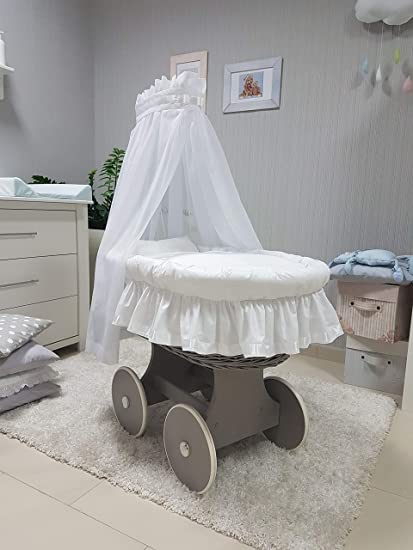 Babymajawelt® Juego completo de moisés de 10 piezas, incluye colchón, carretilla con ruedas
