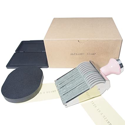 Alphabet Rolling Stamp Package Set Including Exclusive Ink Pad And Cleaner Black