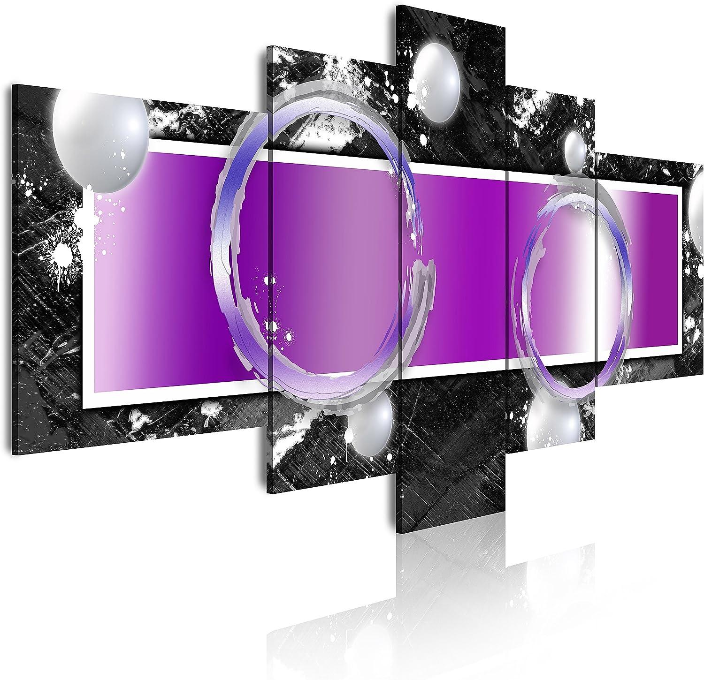 DekoArte - Cuadros Modernos Impresión de Imagen Artística Digitalizada | Lienzo Decorativo Para Tu Salón o Dormitorio | Estilo Abstracto Moderno Colores Plata Negro Morado | 5 Piezas 180 x 85 cm XXL