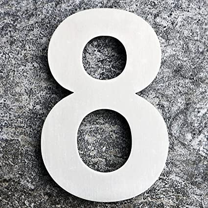 Qt modern house number extra large 10 inch brushed stainless steel number 8